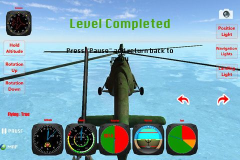 Screenshots of the Helicopter: Flight simulator 3D game for iPhone, iPad or iPod.