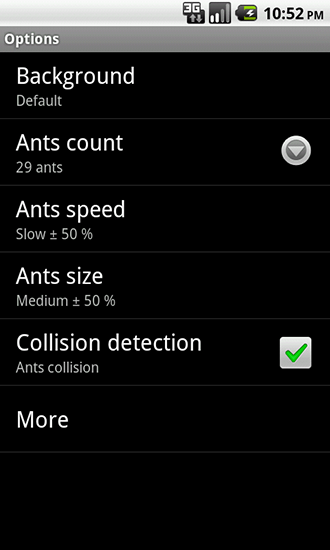 Screenshots of the Ants for Android tablet, phone.