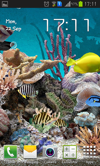 Kostenloses Android-Live Wallpaper Aquarium 3D. Vollversion der Android-apk-App Aquarium 3D für Tablets und Telefone.