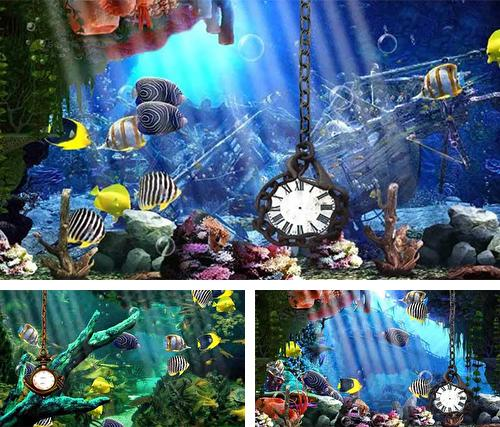 Download live wallpaper Aquarium: Clock for Android. Get full version of Android apk livewallpaper Aquarium: Clock for tablet and phone.