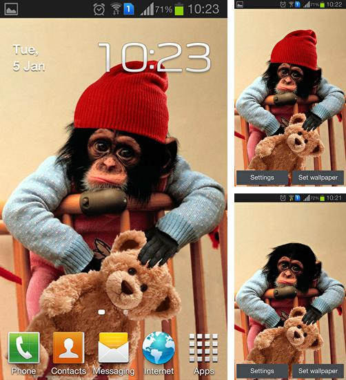 In addition to live wallpaper Graffiti wall for Android phones and tablets, you can also download Baby monkey for free.