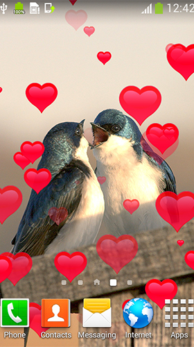 Birds in love für Android spielen. Live Wallpaper Verliebte Vögel kostenloser Download.