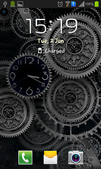 Screenshots of the Black clock by Mzemo for Android tablet, phone.