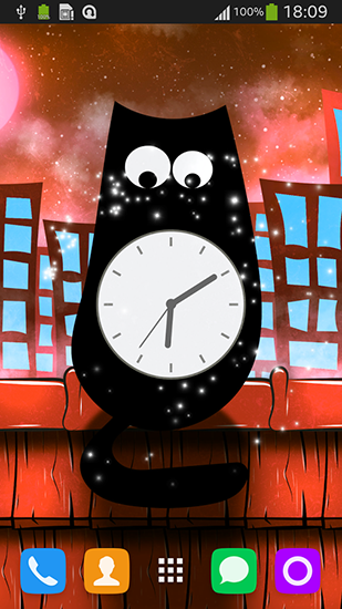 Screenshots of the Cat clock for Android tablet, phone.