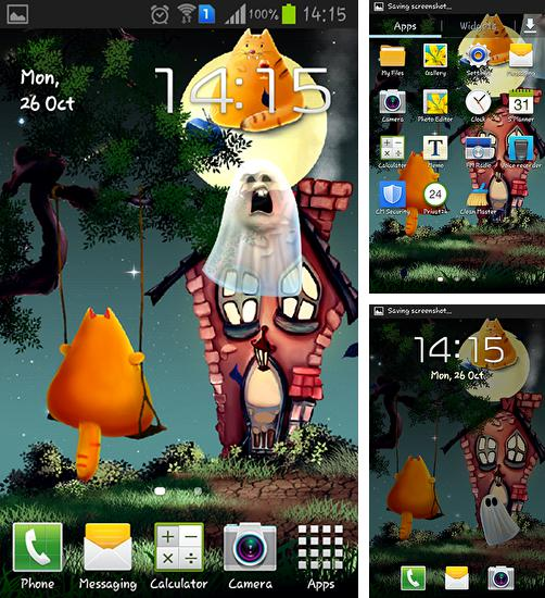 In addition to live wallpaper Magic crystal for Android phones and tablets, you can also download Cat Halloween for free.