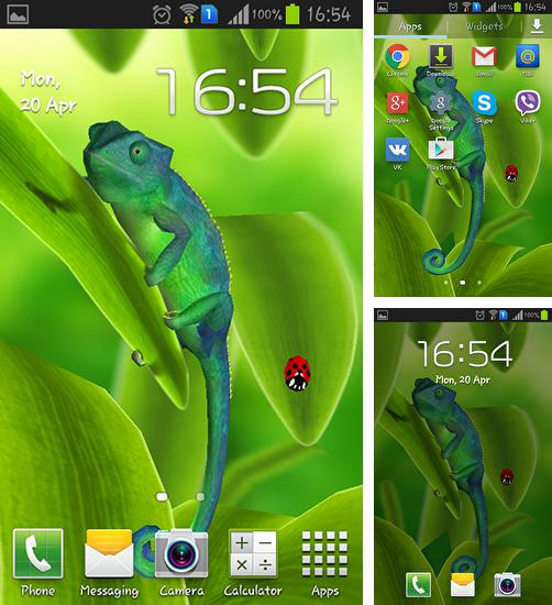 In addition to live wallpaper Sunflowers for Android phones and tablets, you can also download Chameleon 3D for free.