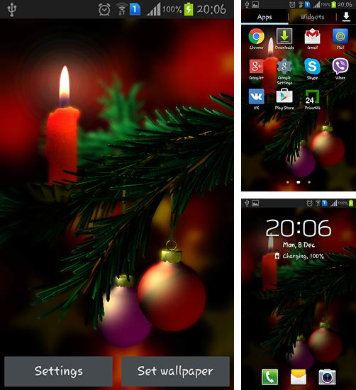 In addition to live wallpaper Rainbow colors for Android phones and tablets, you can also download Christmas 3D for free.