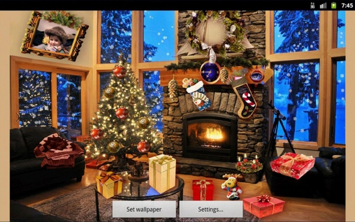 Screenshots of the Christmas fireplace for Android tablet, phone.