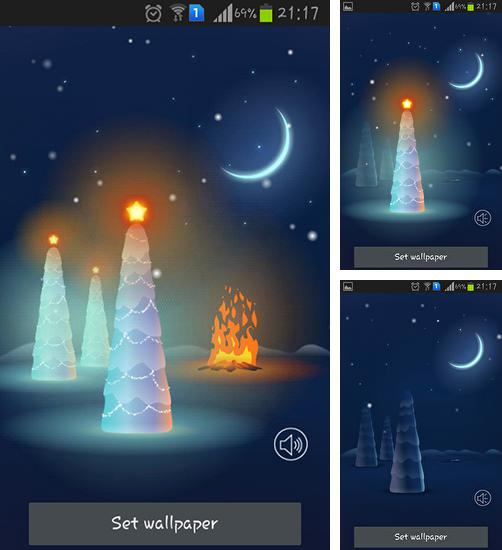 In addition to live wallpaper Northern lights for Android phones and tablets, you can also download Christmas snow for free.