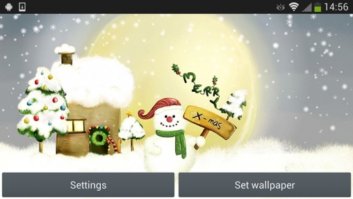Screenshots of the Christmas snowman for Android tablet, phone.