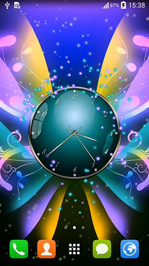 Clock with butterflies - скріншот живих шпалер для Android.