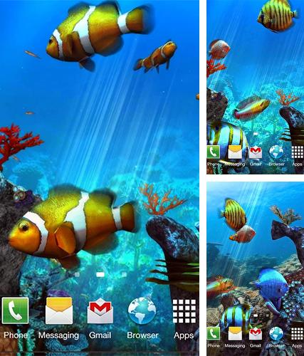 Kostenloses Android-Live Wallpaper Clownfisch Aquarium 3D. Vollversion der Android-apk-App Clownfish aquarium 3D für Tablets und Telefone.