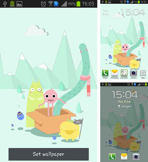 In addition to live wallpaper Clouds HD 5 for Android phones and tablets, you can also download Cute monsters for free.