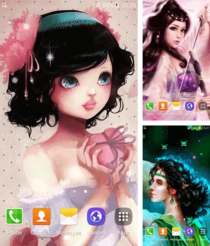 Kostenloses Android-Live Wallpaper Süße Prinzessin. Vollversion der Android-apk-App Cute princess by Free Wallpapers and Backgrounds für Tablets und Telefone.
