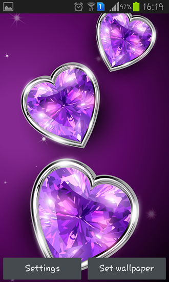 Diamond hearts für Android spielen. Live Wallpaper Diamantenherzen kostenloser Download.