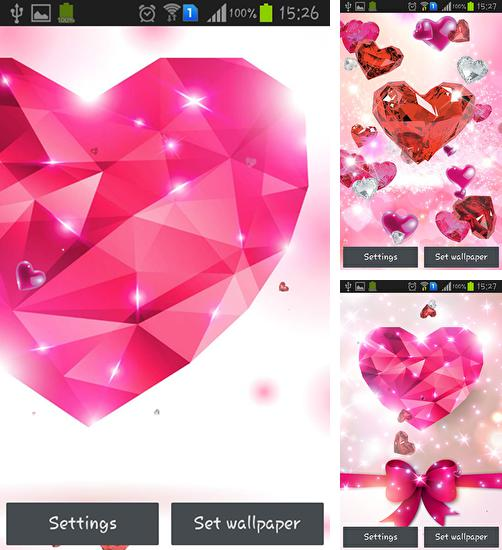 In addition to live wallpaper Plasticine spring flowers for Android phones and tablets, you can also download Diamond hearts by Live wallpaper HQ for free.