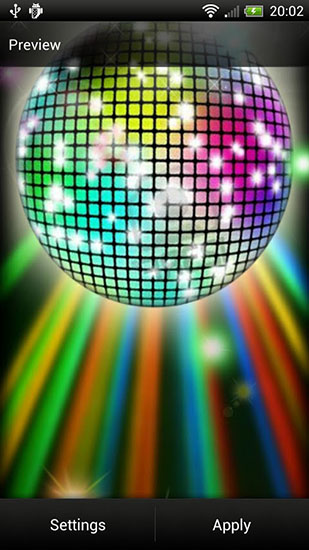 Screenshots of the Disco Ball for Android tablet, phone.