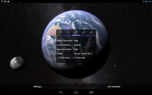 Earth and moon in gyro 3D live wallpaper for Android  Earth