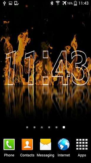 Screenshots of the Fire clock for Android tablet, phone.