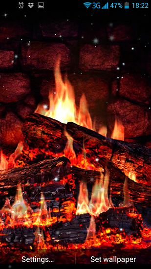 Screenshots of the Fireplace for Android tablet, phone.