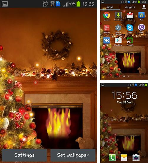 In addition to live wallpaper Winter snow clock for Android phones and tablets, you can also download Fireplace New Year 2015 for free.