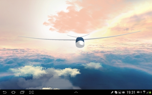 Kostenloses Android-Live Wallpaper Flug im Himmel 3D. Vollversion der Android-apk-App Flight in the sky 3D für Tablets und Telefone.