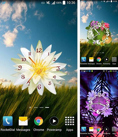 In addition to live wallpaper Chrooma Float for Android phones and tablets, you can also download Flower clock for free.
