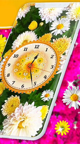 Screenshots of the Flowers analog clock for Android tablet, phone.