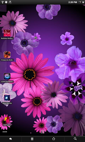 Screenshots of the Flowers live wallpaper for Android tablet, phone.