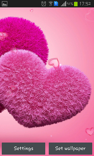 Screenshots of the Fluffy hearts for Android tablet, phone.