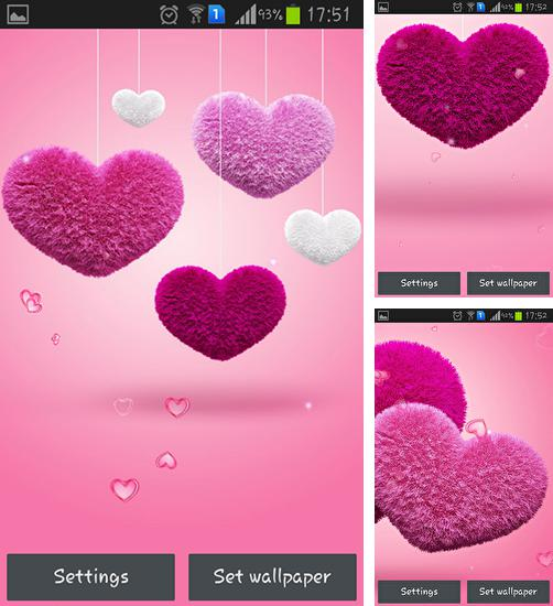 In addition to live wallpaper Ink for Android phones and tablets, you can also download Fluffy hearts for free.