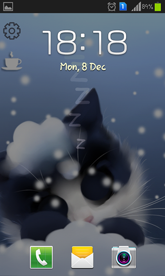 Screenshots of the Frosty the kitten for Android tablet, phone.