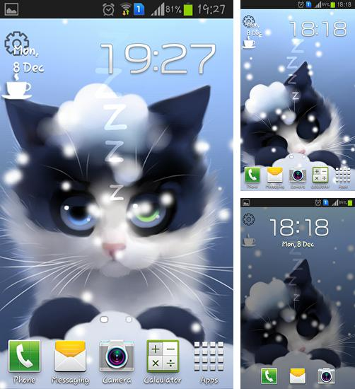 In addition to live wallpaper Snowy night for Android phones and tablets, you can also download Frosty the kitten for free.