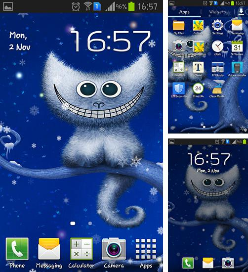 In addition to live wallpaper Shiny сolor for Android phones and tablets, you can also download Funny Christmas kitten and his smile for free.