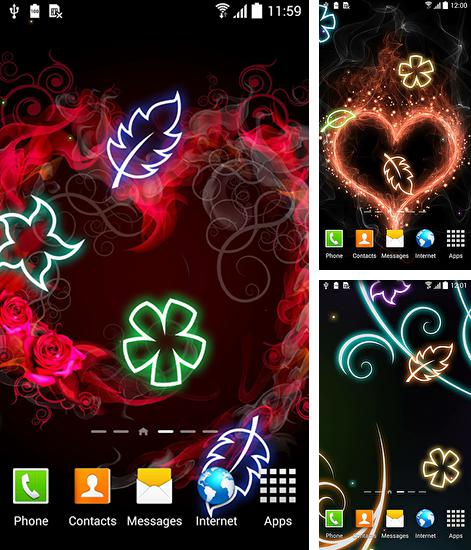 In addition to live wallpaper Launcher 3D for Android phones and tablets, you can also download Glowing flowers for free.