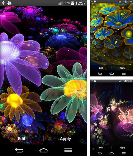 Descarga gratuita fondos de pantalla animados Flores brillantes  para Android. Consigue la versión completa de la aplicación apk de Glowing flowers by My Live Wallpaper para tabletas y teléfonos Android.
