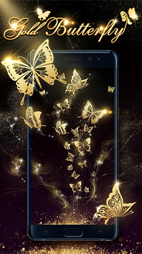 Kostenloses Android-Live Wallpaper Goldener Schmetterling. Vollversion der Android-apk-App Gold butterfly für Tablets und Telefone.