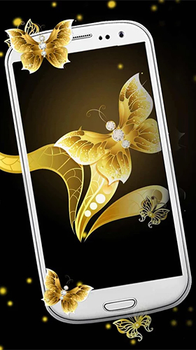 Gold butterfly für Android spielen. Live Wallpaper Goldener Schmetterling kostenloser Download.