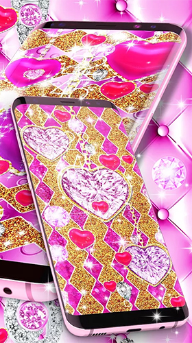 Golden luxury diamond hearts für Android spielen. Live Wallpaper Goldene Luxus-Diamant-Herzen kostenloser Download.