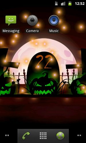 Screenshots of the Halloween for Android tablet, phone.