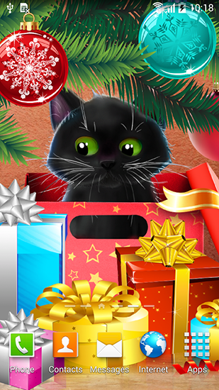 Screenshots of the Kitten on Christmas for Android tablet, phone.