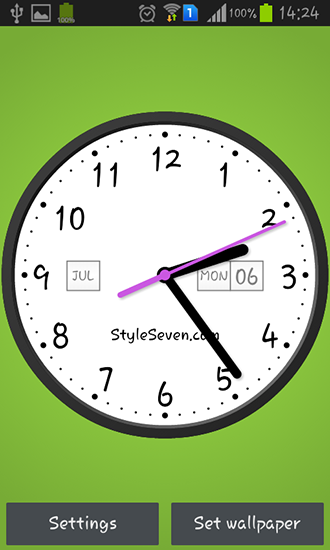 Screenshots of the Light analog clock for Android tablet, phone.