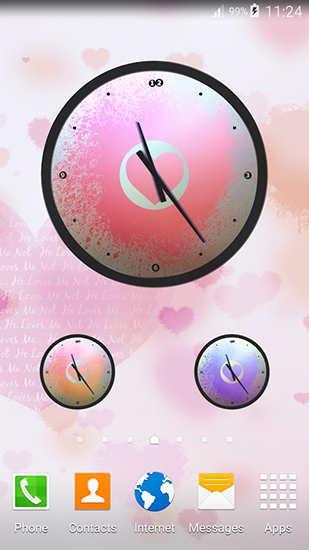Screenshots of the Love: Clock for Android tablet, phone.