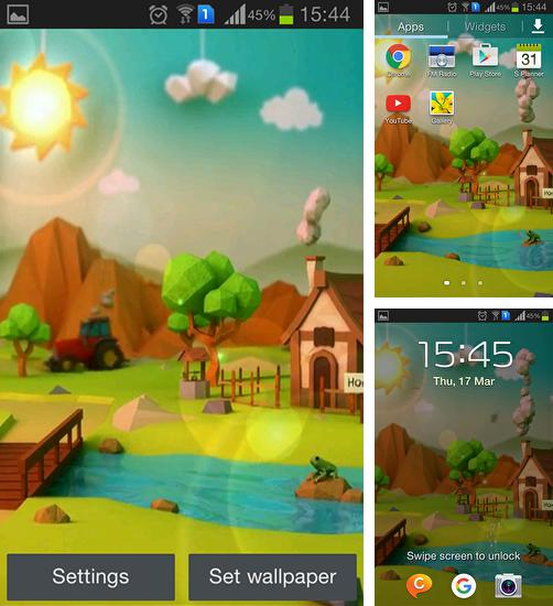 In addition to live wallpaper Anime girl for Android phones and tablets, you can also download Low poly farm for free.