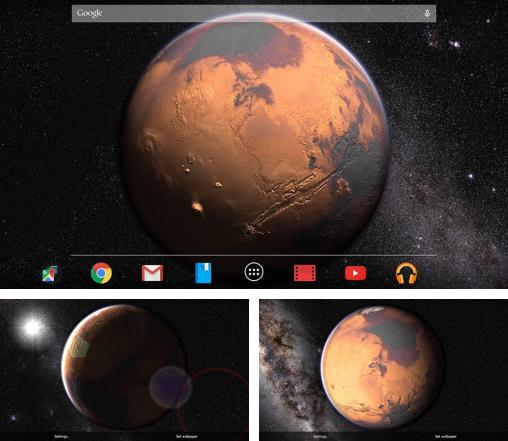 In addition to live wallpaper Moon and stars for Android phones and tablets, you can also download Mars for free.