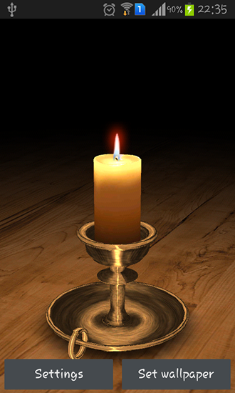 Kostenloses Android-Live Wallpaper Brennende Kerze 3D. Vollversion der Android-apk-App Melting candle 3D für Tablets und Telefone.