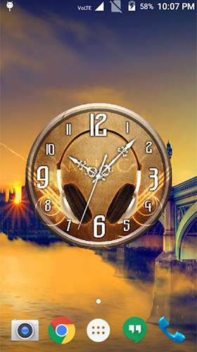 Kostenloses Android-Live Wallpaper Musikuhr. Vollversion der Android-apk-App Music clock für Tablets und Telefone.