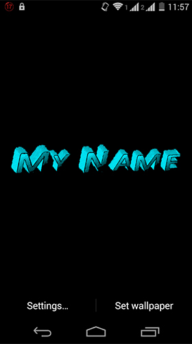 Screenshots of the My name 3D for Android tablet, phone.