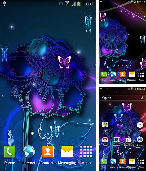 Download live wallpaper Neon butterflies for Android. Get full version of Android apk livewallpaper Neon butterflies for tablet and phone.