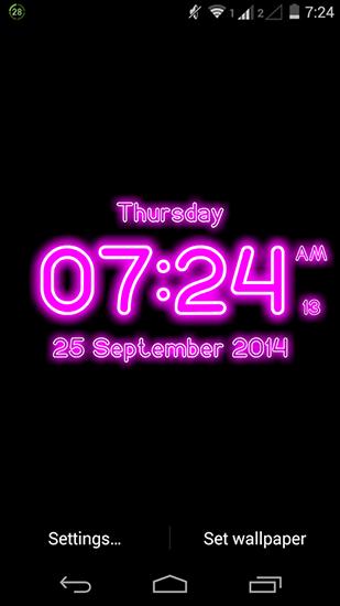 Neon digital clock live wallpaper for Android  Neon digital